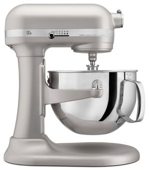 KitchenAid KP26M1XNP 6 Qt. Professional 600 Series Bowl-Lift Stand Mixer side view.