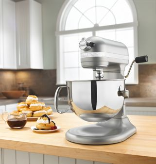 KitchenAid KP26M1XNP 6 Qt. Professional 600 Series Bowl-Lift Stand Mixer on a kitchen counter.